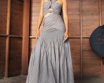 Endlessly...wrap maxi dress mix silk(1190)...1 dress 10 ways to wear (S-L)