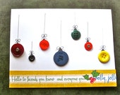 Hand Painted Note Card - Greeting Card - Christmas - Holly Jolly Christmas - Buttons