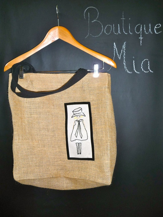 Extra Large Burlap Tote - Hand Embroidered Mod Girl - Boutique Mia