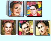 Fridge Magnets set of 5, Frida Kahlo from art paintings Wood tile 1x1 by L.Dumas