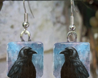 Bird 59 Crow Raven Art Glass Earrings from painting by L.Dumas