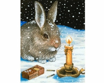 Fridge Magnet Print ACEO from my original painting Hare 20 rabbit by Lucie Dumas