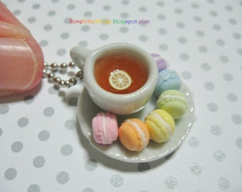 Macarons Tea Necklace - Rainbow - MADE TO ORDER