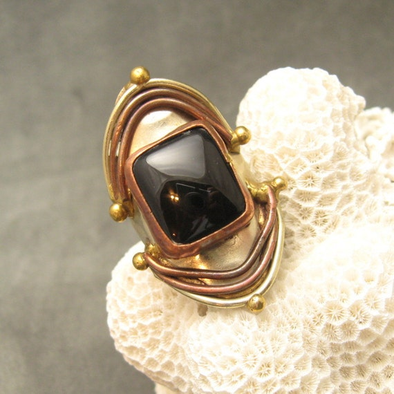 RESERVED Mixed Metals Vintage Ring Onyx Large Long R4781