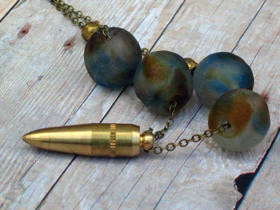 Gold Brass Bullet Pendant - Recycled Glass Beads - Rustic Blue, Tribal Brown Necklace - African Brass Trade Beads - Gift Box
