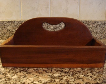 Vintage wood utensil tray/caddy with handle and two compartments
