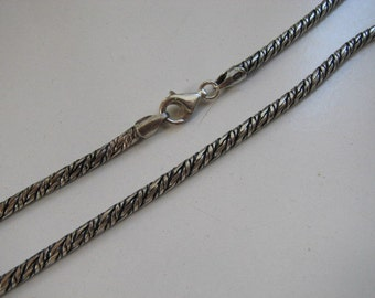 26 inch 2.5mm Rope Chain Necklace Sterling Silver Lightly Oxidized with Lobster Clasp