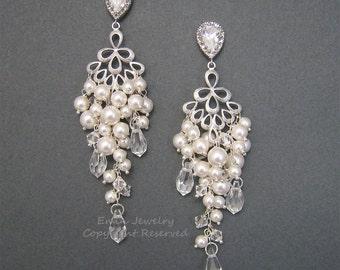 Wedding EArrings, Chandelier Pearls Crystals Bridal Earrings, Rhinestone Studs Silver Swarovski Ivory White Pearls Earrings, Bridal Jewelry,