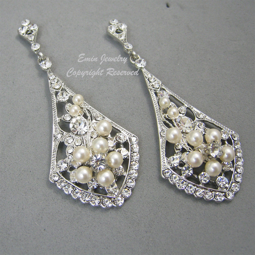 Vintage Style Earrings: Vintage Style Bridal Earrings Ivory Pearl Wedding Earrings