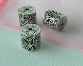 Pewter Beads Silver Plated Open Floral Design Bead
