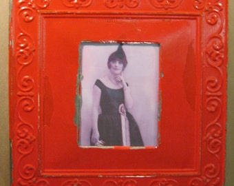 TIN CEILING Red Metal Picture Frame 8x10 Shabby Recycled chic S752-12