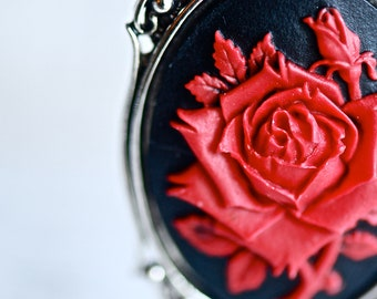Bloody Rose Necklace - Red Black Flower Cameo - Insurance Included