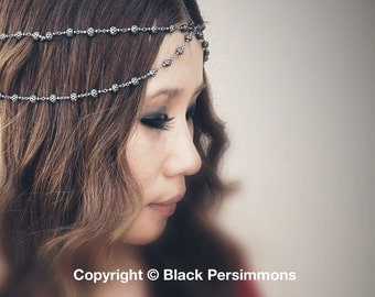 Gypsy Warrior No. 1 Chains HeadPiece  - Antique Silver Plated Brass -  Domestic Free Shipping