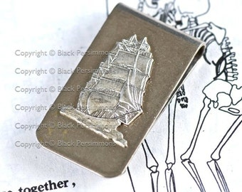 Seashore Money Clip - Tall Ship Stamping - Made in USA Components - 2 Finishes