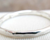 Fine Silver Narrow Band Ring  Size 7