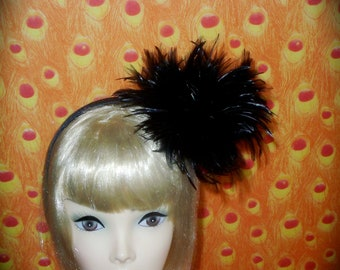 Custom Made Black Feather Fascinator Headband by Taissa Lada,Black Hackle Feathers,Black Feathers,Flapper Headpiece,Great Gatsby,Burlesque