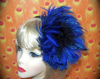 Custom Made Blue and Black  Feather Headband by Taissa Lada Designs,Feather Fascinator,Flapper,Great Gatsby,Flapper Headband,Burlesque,Retro