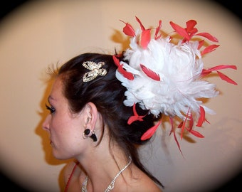 Custom Made White and Red Feather Fascinator By Taissa Lada,White Feathers,Red Burnt Coque Feathers,Bridal Headpiece,Feather Fascinator,Drag