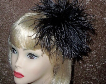 Custom Made Black Ostrich Fascinator By Taissa Lada Designs,Black Feathers,Bridal Headpiece, Hair Puff,Feather Hair Clip,Flapper,Burlesque