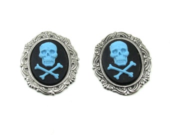 Set of 2 Blue on Black Gothic Skull and Crossbones Cameos with Antiqued Sterling Silver Plated Settings - 18x25mm
