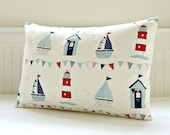decorative pillow cover beach hut, light house, boats, bunting, seaside beach cushion cover