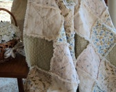 2 pc SET Shabby Romantic Country Cottage Rag Quilt & Dresser Scarf / Table Runner Roses Floral