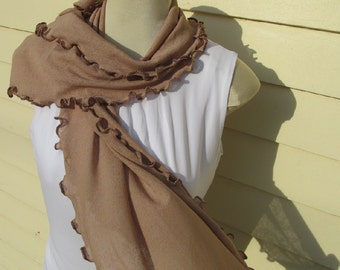 Café Au Lait Ruffled Scarf Coffee with Chocolate Brown Ruffled Edge