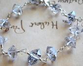 Herkimer Diamond Bracelet Sterling Silver Wire Wrapped