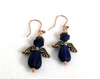Matte Cobalt Blue Copper Angel Earrings RKM394 RKMixables Copper Collection