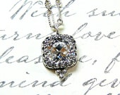 Antique Sterling Silver Necklace with Cushion Square Swarovski Crystal Tiara Crown like Bezel