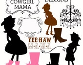 Cowgirl Mama  Digital Clipart Elements Commercial use for paper, invites- InStAnT DoWnLoAd