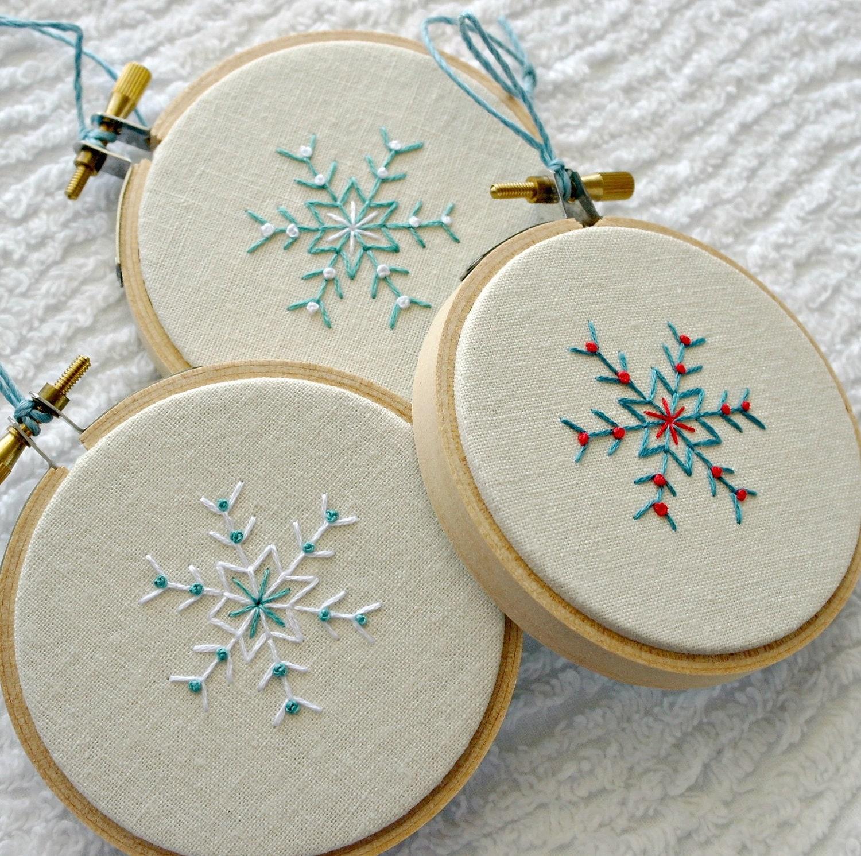 Christmas Ornament Hoop Art Snowflake Hostess Gift By Sewfaithful