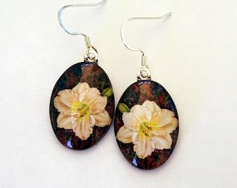 Daylily Earrings Creamy Peach Hemerocallis Oval Art Glass