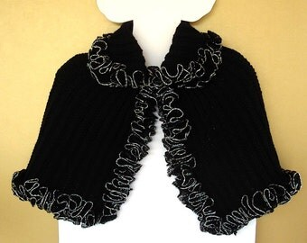 Black Capelet Evening Prom Wrap Silver Black Ruffle Ribbon Edge