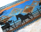 500+ Scarf Print Selection! Only at SylMarCreations!  Very Limited Edition - Southwestern Saddleblanket Galloping Horse Winter Fleece Scarf
