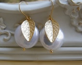 Fresh Water Coin Pearl and Gold Leaf Romantic Earrins