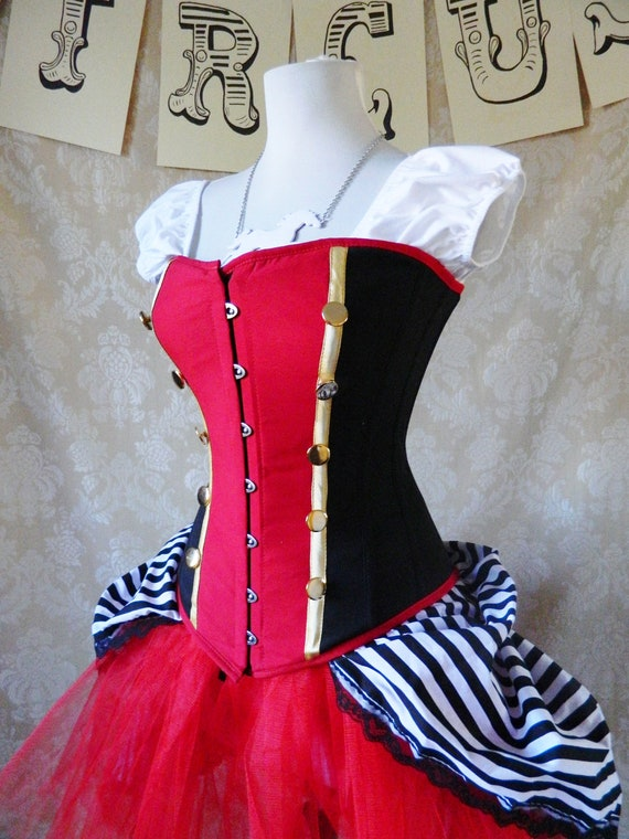 Military circus/Queen of Hearts corset, ready to ship-to fit natural 30-32 inch waist