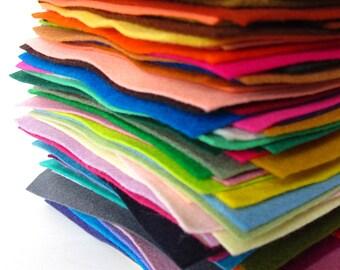 Wool Felt Assortment, 100% Wool, Pure Merino, Sheets, Squares, Felt Set, Wool Fabric, Applique, Handwork, Needlework, Gift Set, Bulk Felt
