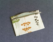 Small Zipper Canvas Pouch - Leaves
