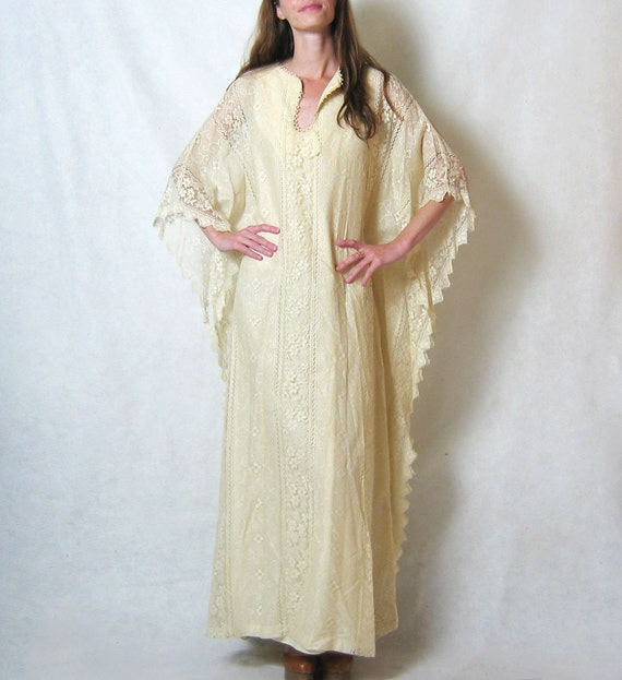 1970s ECRU LACE tunic wedding gown