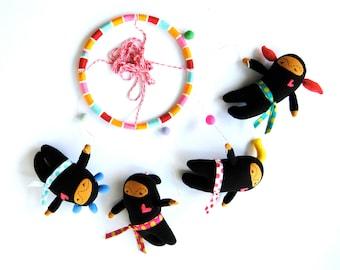 Ninja Girls with Neon Hair ---  Baby Mobile ---  Customizable