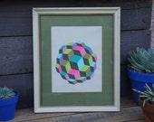 Geometric Multicolored Neon Orb- Framed Original Painting