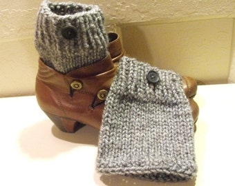Boot Cuffs Leg Warmers Hand Knit in Grey for Women and Teenagers