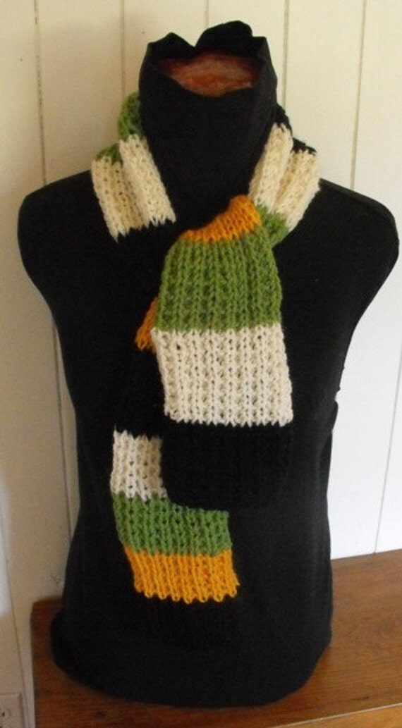 Womens Unisex Hand Knit Striped Scarf On Sale