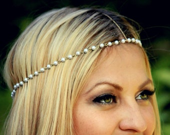CHAIN HEADPIECE- pearl and gold chain headdress head piece / boho chic