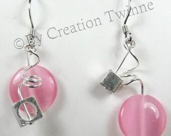 pink earrings, christmas gift, mother days gift, weding earrings, funky spiral earrings, bridesmaids gift, asymmetrical earrings,
