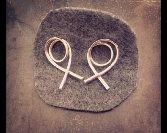 Gestural double loop one of a kind sterling silver stud earrings