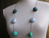 Clay necklace: turquoise, green and gray, 3 way stoned necklace