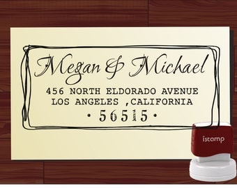 Calligraphy Handwriting Script Custom Return Address Stamp - Personalized SELF INKING Wedding Stationery Stamper - Style 6021ADDRESS