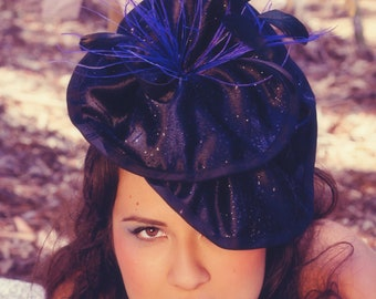 S A M A N T H A - Black Satin Glitter Fascinator with Royal Blue Feathers